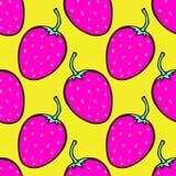 Fondo rosa e giallo con la fragola Vector il reticolo senza giunte Fotografia Stock Libera da Diritti