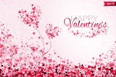 Fondo rosa ENV 10 di giorno del ` s del biglietto di S. Valentino della luce del bokeh dei cuori Contesto tenero con i cuori vari Fotografie Stock Libere da Diritti