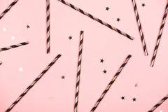Fondo rosa festivo, disposizione piana Fotografia Stock Libera da Diritti