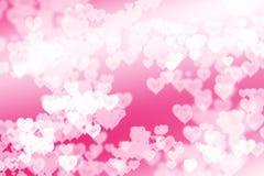 Fondo rosa luminoso dei cuori Fotografia Stock