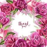 Fondo rosa naturale delle rose Pagina delle rose rosse e rosa, illustrazione dell'acquerello Fotografie Stock