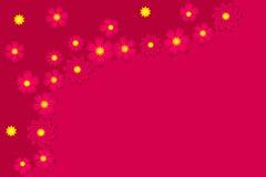 Fondo rosa-rosso con i fiori Immagini Stock
