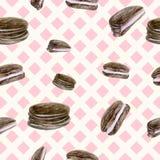 Fondo rosa senza cuciture con i biscotti di pepita di cioccolato Immagine Stock