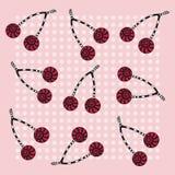 Fondo rosa senza cuciture con le ciliege Immagini Stock Libere da Diritti