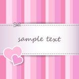 Fondo rosa a strisce dolce della cartolina d'auguri di giorno di S. Valentino - carte scrapbooking - cucia Immagini Stock Libere da Diritti