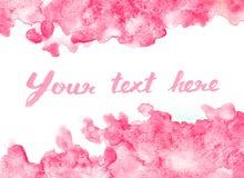 Fondo rosa vivo dell'acquerello illustrazione di stock