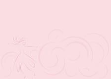 Fondo rosado abstracto con la muchacha que gira Imagen de archivo