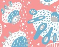 Fondo rosado abstracto con los elementos y los puntos ilustración del vector