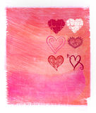 Fondo rosado abstracto de la acuarela con los corazones Foto de archivo libre de regalías
