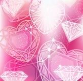 Fondo rosado con cortar linear de los diamantes Imagen de archivo