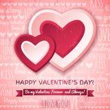 Fondo rosado con dos corazones de las tarjetas del día de San Valentín y wi Fotos de archivo