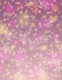 Fondo rosado con el copo de nieve y el bokeh, vector stock de ilustración