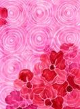 Fondo rosado con las flores rojas Foto de archivo