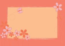 Fondo rosado con las flores y la mariposa Fotografía de archivo libre de regalías
