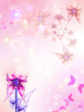 Fondo rosado con las flores y las mariposas Imagenes de archivo