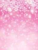 Fondo rosado con los copos de nieve, vector Imagenes de archivo
