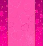 Fondo rosado con los corazones Imagen de archivo libre de regalías