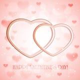 Fondo rosado con los corazones Fotos de archivo libres de regalías