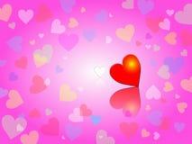 Fondo rosado con los corazones de los colores en colores pastel Imagen de archivo
