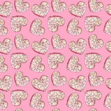 Fondo rosado con los corazones Modelo del color de agua al día de amantes stock de ilustración