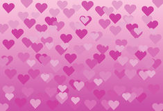 Fondo rosado con los corazones rosados Imagen de archivo libre de regalías