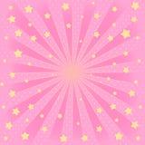 Fondo rosado con los rayos de sol, estrella que vuela en aire imagenes de archivo