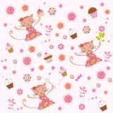 Fondo rosado de la decoración del cumpleaños de las muchachas Foto de archivo