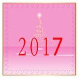 Fondo rosado de la Feliz Año Nuevo 2017 ilustración del vector