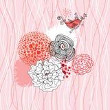 Fondo rosado de la flor con un pájaro Fotos de archivo libres de regalías