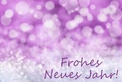Fondo rosado de la Navidad de Bokeh, nieve, Año Nuevo malo de Frohes Neues Fotos de archivo libres de regalías