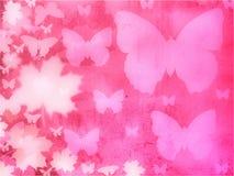 Fondo rosado de las mariposas Foto de archivo libre de regalías