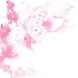 Fondo rosado de las mariposas y de las flores libre illustration