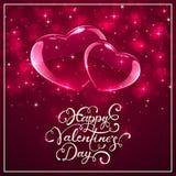 Fondo rosado de las tarjetas del día de San Valentín con los corazones brillantes stock de ilustración
