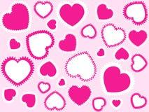 Fondo rosado de los corazones Imagenes de archivo