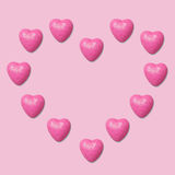 Fondo rosado de los corazones fotografía de archivo