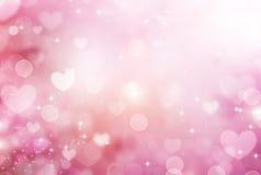 Fondo rosado de los corazones de la tarjeta del día de San Valentín Foto de archivo libre de regalías