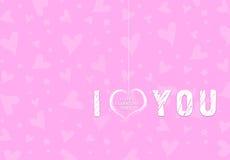 Fondo rosado de los corazones de la tarjeta del día de San Valentín Foto de archivo