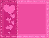 Fondo rosado de los corazones de la tarjeta del día de San Valentín del Doodle Imagen de archivo