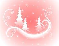 Fondo rosado decorativo de los árboles de navidad ilustración del vector