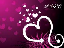 Fondo rosado del corazón con la ilustración del amor Imagen de archivo
