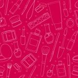 Fondo rosado del maquillaje con las herramientas, cepillos Imagen de archivo libre de regalías