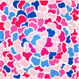 Fondo rosado del mosaico con los pequeños corazones multicolores Imágenes de archivo libres de regalías