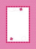 Fondo rosado del punto de polca con el marco Foto de archivo