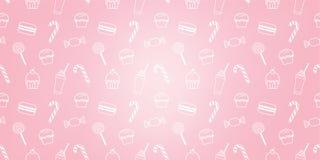 Fondo rosado dulce del modelo del café del icono de la magdalena de la panadería del caramelo de los macarrones lindos del batido ilustración del vector