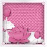 Fondo rosado floral abstracto con las flores de loto, orientales Fotografía de archivo