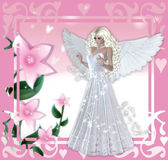 Fondo rosado floral del ángel Imagen de archivo