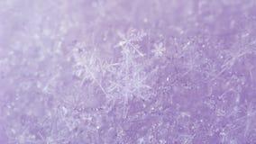 Fondo rosado ligero de la nieve con los copos de nieve blancos Fotografía de archivo