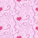 Fondo rosado romántico con los corazones y las ilustraciones, modelo inconsútil Foto de archivo libre de regalías