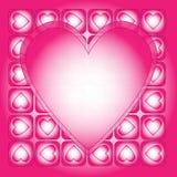 fondo rosado y blanco del corazón Fotos de archivo