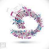 Fondo rosado y violeta de la música con la clave y las notas Imagen de archivo